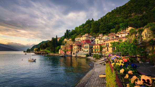 Beautiful town of Varenna, Lake Como, Italy - Stock Photo - Images