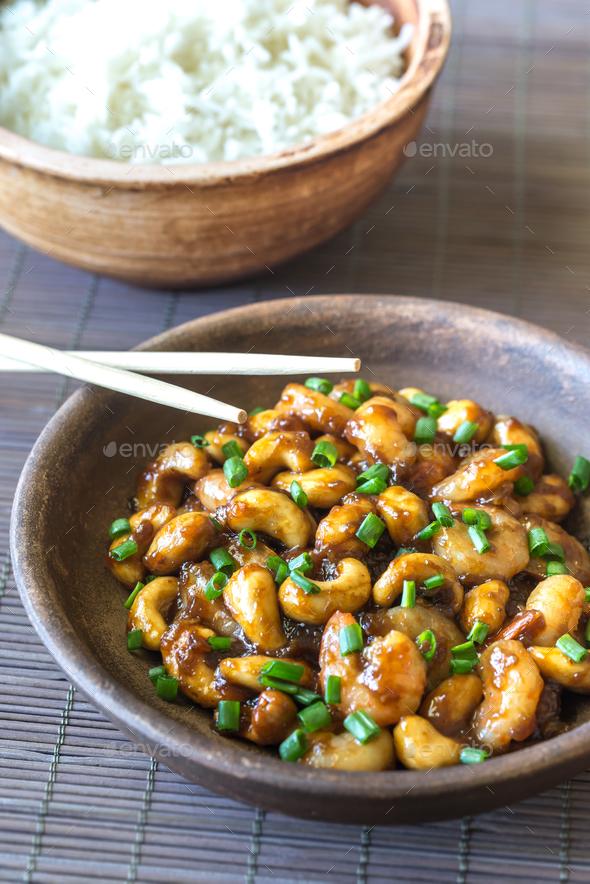 Portion of cashew shrimp stir-fry - Stock Photo - Images