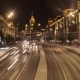 Moscow City Street View with Busy Traffic at Night