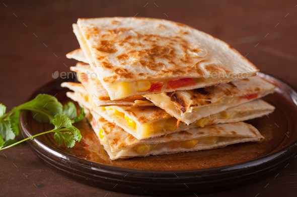 mexican quesadilla with tomato corn cheese - Stock Photo - Images