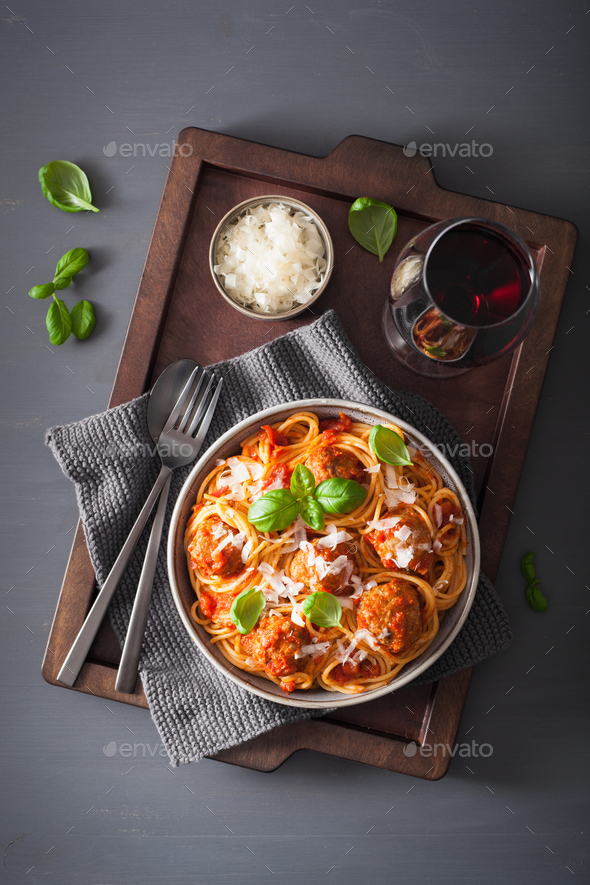 spaghetti with meatballs and tomato sauce, italian pasta - Stock Photo - Images