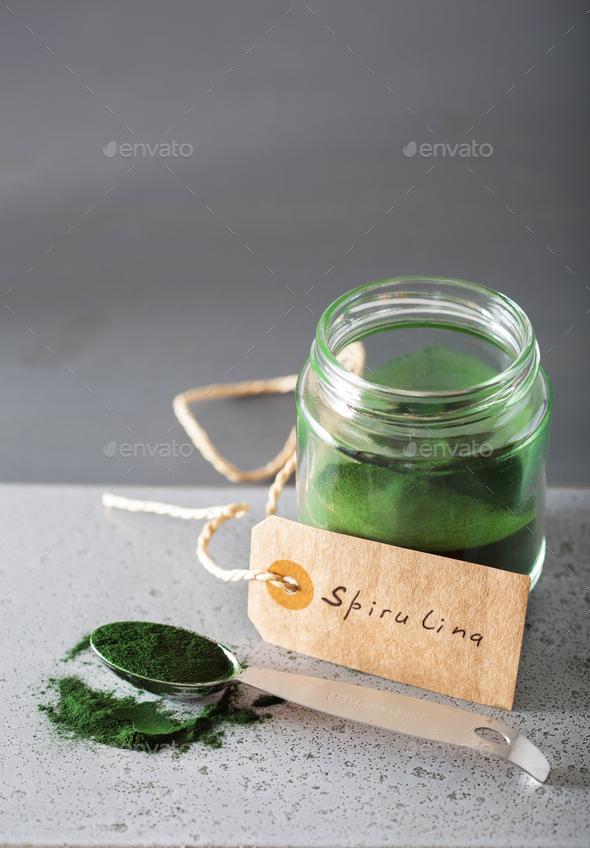 spirulina powder healthy dietary supplement - Stock Photo - Images