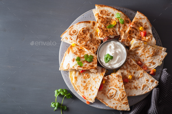 mexican quesadilla with chicken tomato corn cheese - Stock Photo - Images