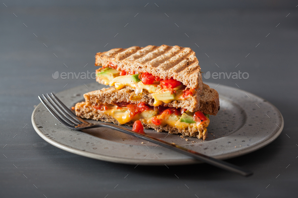 grilled cheese sandwich with avocado and tomato - Stock Photo - Images