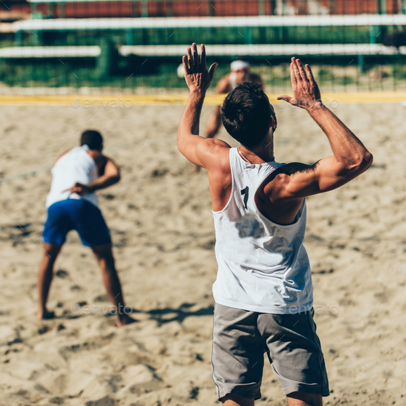 Beach volleyball service - Stock Photo - Images