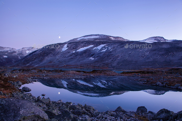 lake at Gamle Strynefjellsvegen, National tourist road, Norway - Stock Photo - Images