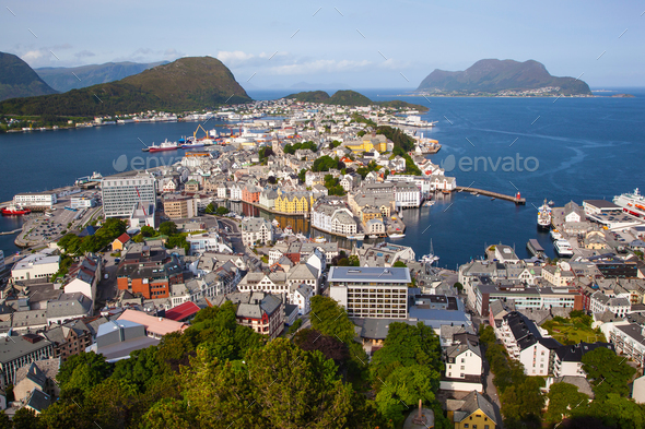 view of Alesund from Fjellstua viewpoint, Norway - Stock Photo - Images