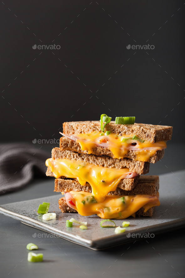 grilled ham and cheese sandwich - Stock Photo - Images