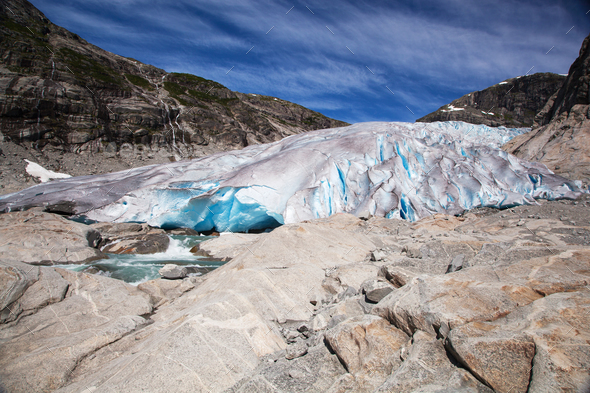 Nigardsbreen glacier in summer, Norway - Stock Photo - Images