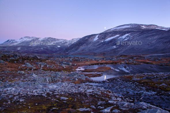 landscape at Gamle Strynefjellsvegen, National tourist road, Nor - Stock Photo - Images