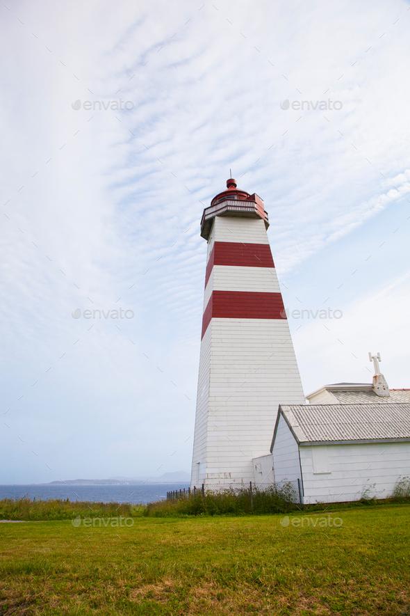 Alnes lighthouse at Godoy island near Alesund, Norway - Stock Photo - Images