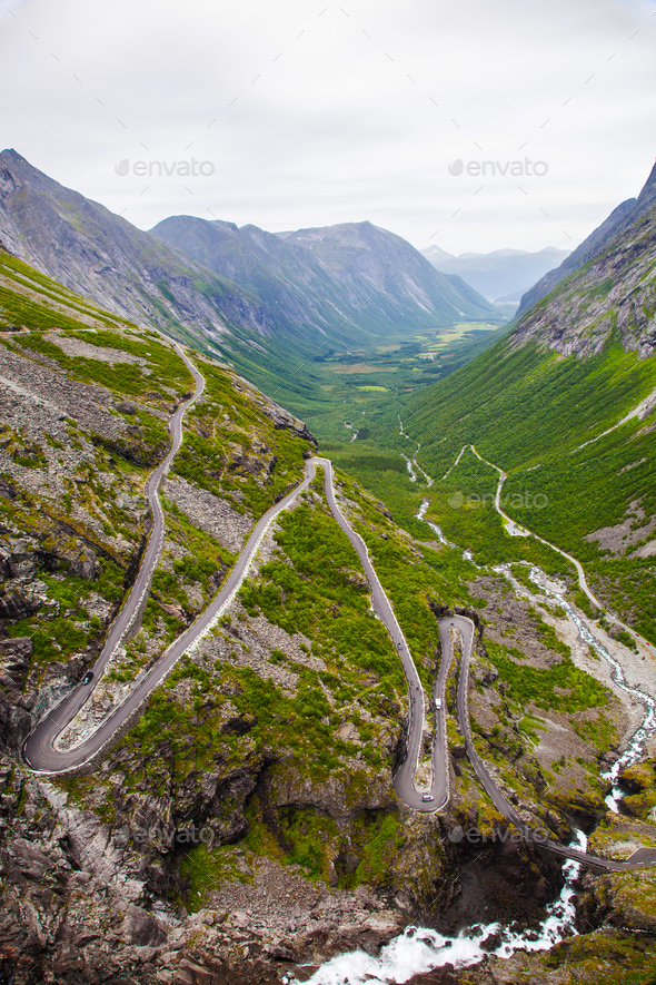 Trollstigen mountain road in Norway - Stock Photo - Images