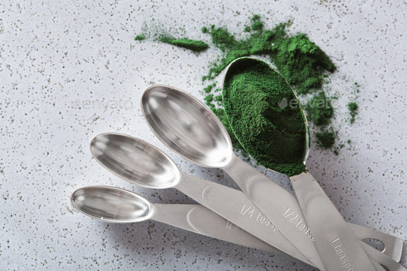 spirulina powder healthy dietary supplement - Stock Photo - Images