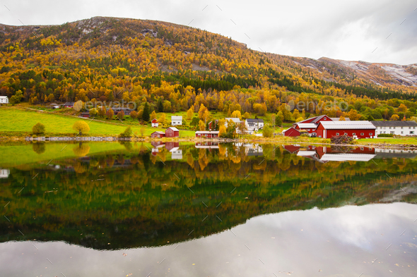 autumn rural landscape with houses near river, Norway - Stock Photo - Images