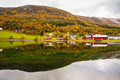 autumn rural landscape with houses near river, Norway - PhotoDune Item for Sale