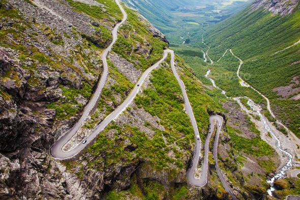 Trollstigen mountain road in Norway - Stock Photo - Images