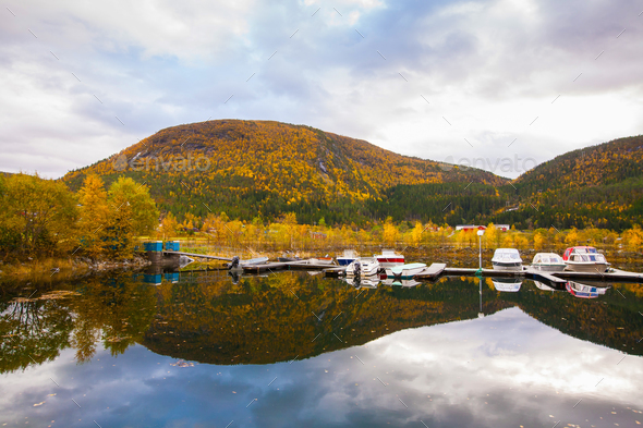 view on small marina on Hitra island, Norway - Stock Photo - Images