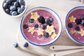 healthy berry smoothie bowl with banana and sesame seed - PhotoDune Item for Sale
