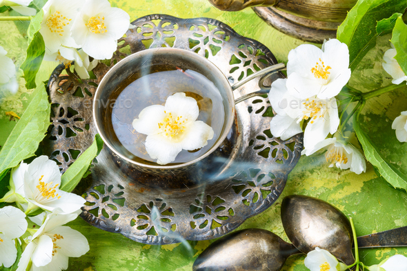 Green tea with jasmine - Stock Photo - Images