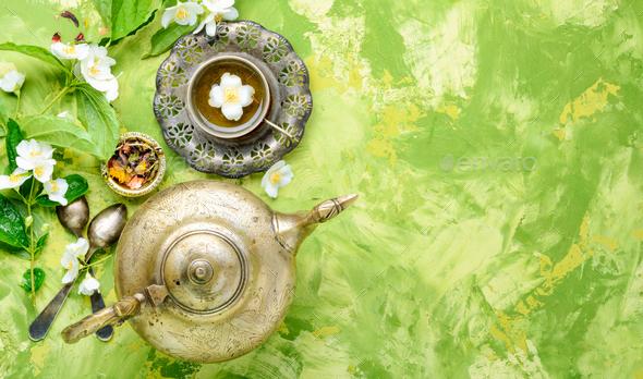 Green tea with jasmine - Stock Photo - Images