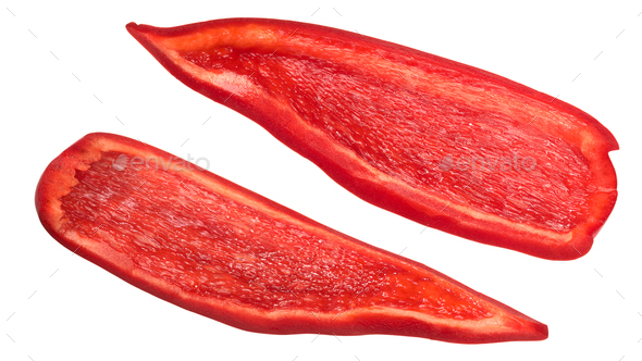 Red bell pepper pieces slices - Stock Photo - Images