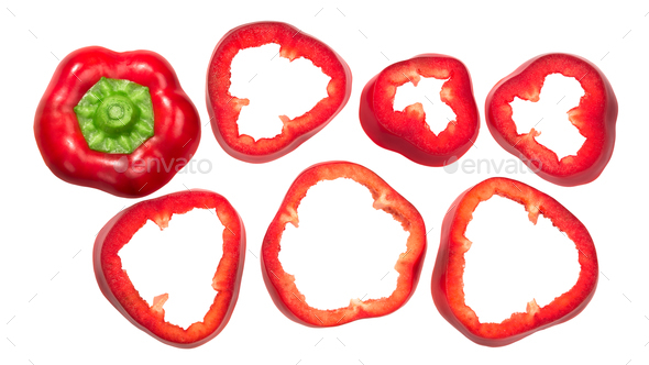 Sweet bell pepper slices, top view - Stock Photo - Images