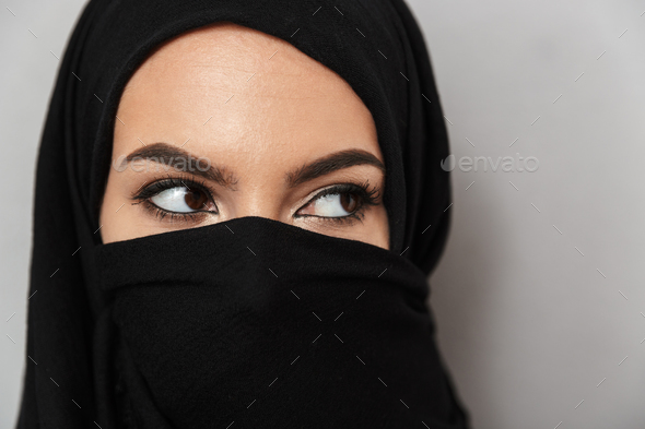 Close up portrait of a beautiful arabian woman - Stock Photo - Images