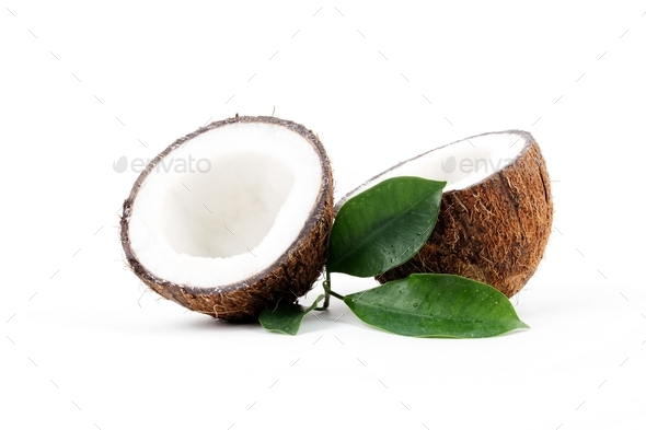 Coconut with leaves - Stock Photo - Images