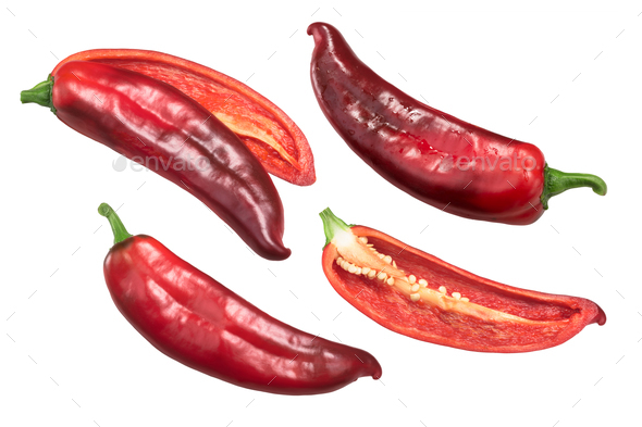 Red Hatch chiles whole, halved, top - Stock Photo - Images