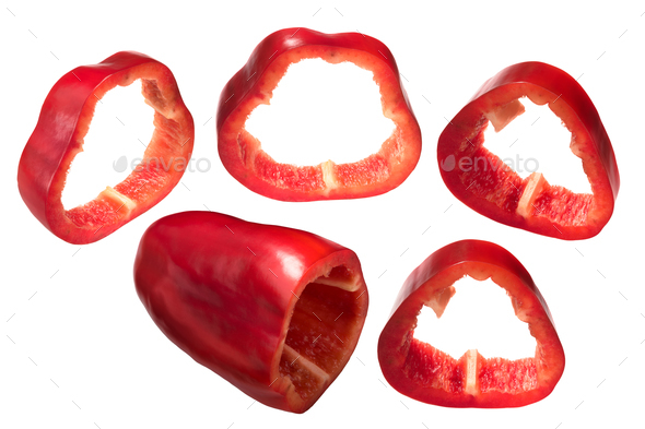 Red bell pepper slices Grueso de Plaza - Stock Photo - Images