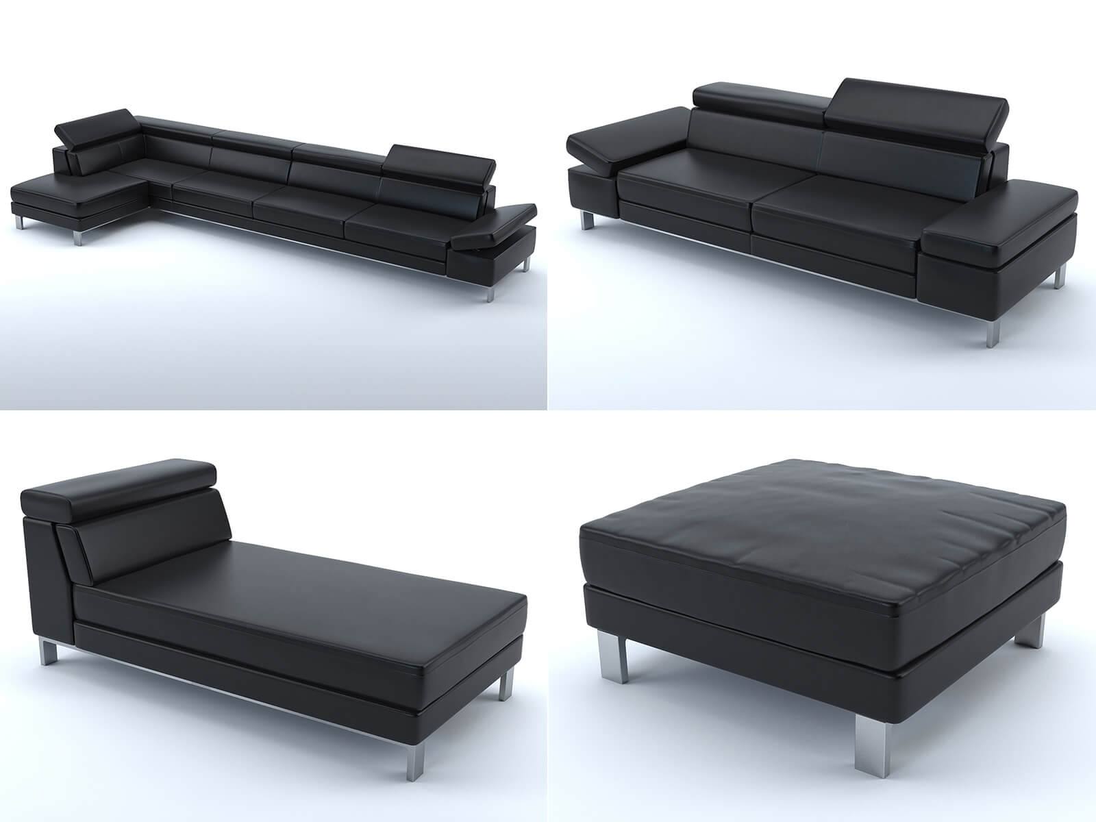 Collection 2: black leather sofas