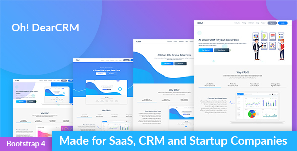 Image of OhDearCRM - SaaS & CRM App Landing Page Template