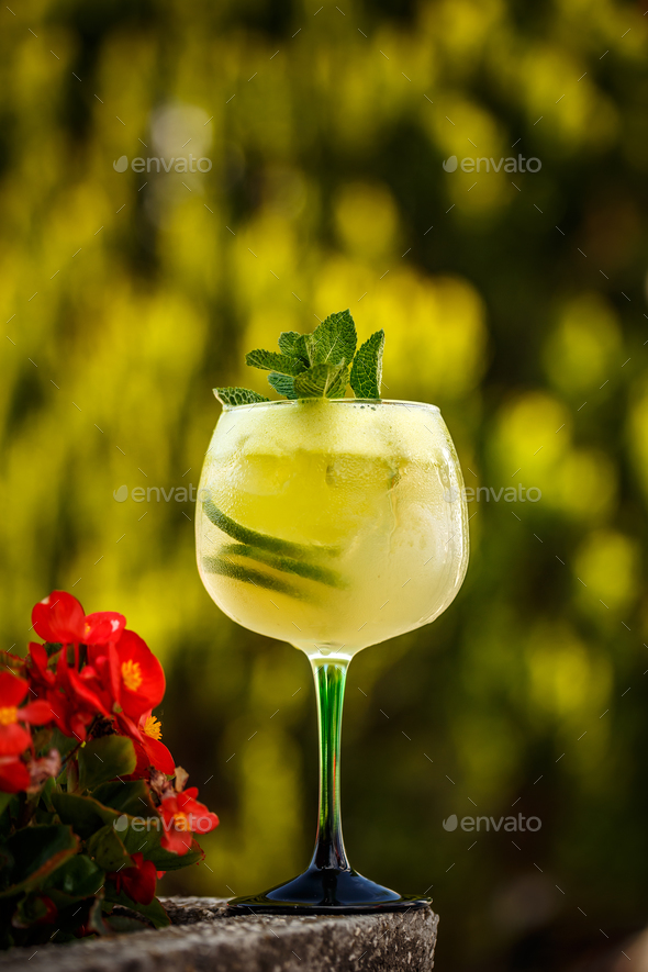 Refreshing summer non-alcoholic cocktail - Stock Photo - Images