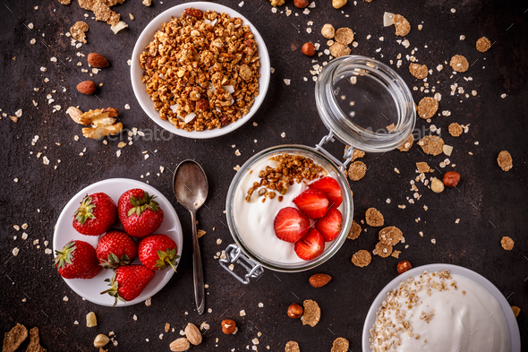Jar of homemade granola - Stock Photo - Images