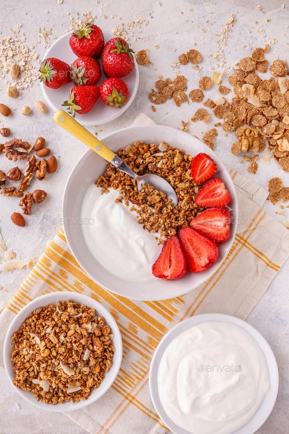 Oat granola breakfast - Stock Photo - Images