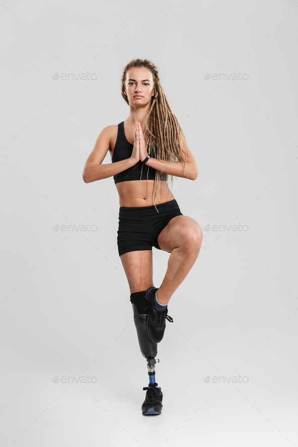 Strong healthy young disabled sportswoman - Stock Photo - Images