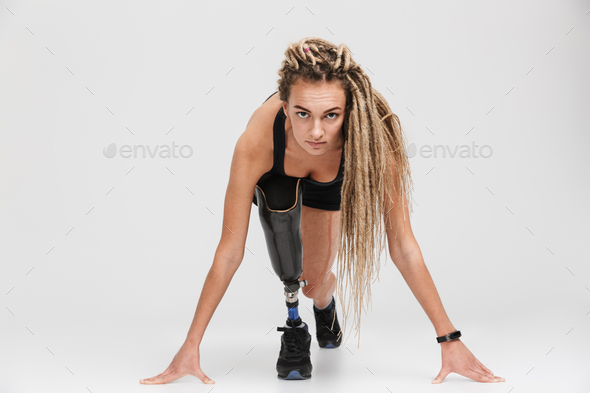Amazing healthy young disabled sportswoman runner - Stock Photo - Images