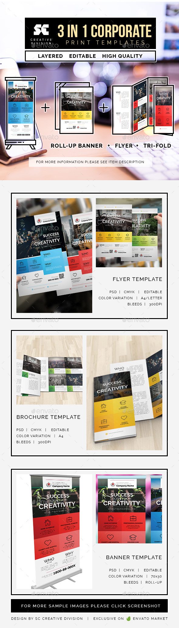 Business Bundle 3 In 1 - Miscellaneous Print Templates
