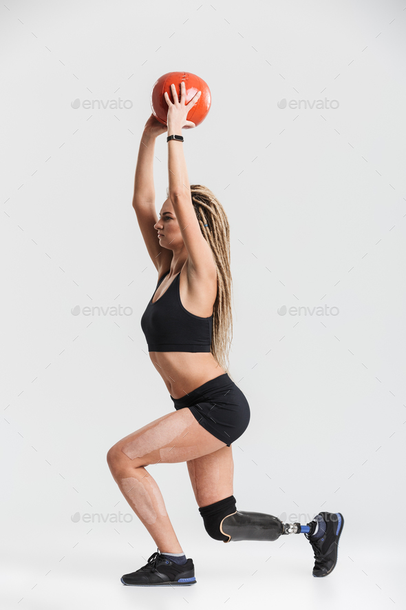 Amazing healthy young disabled sportswoman - Stock Photo - Images