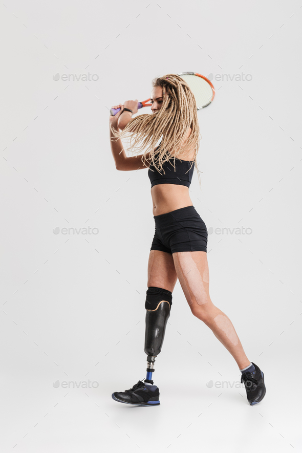 Young disabled sportswoman tennis player - Stock Photo - Images