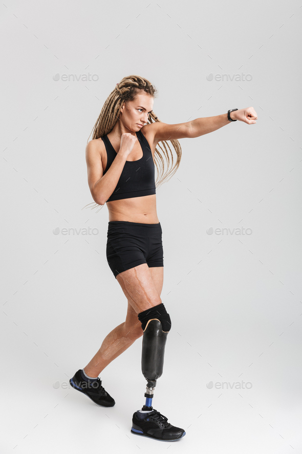 Strong healthy young disabled boxer fighter sportswoman - Stock Photo - Images