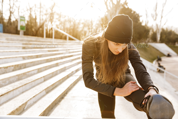 Image of disabled healthy girl in sportswear, training and stret - Stock Photo - Images
