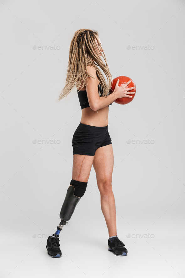 Healthy young disabled sportswoman - Stock Photo - Images