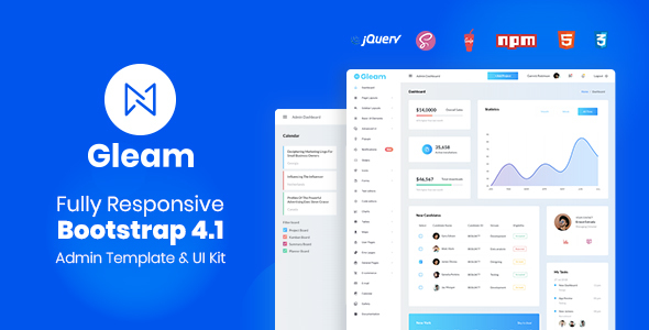 Image of Gleam Bootstrap 4 Admin Template