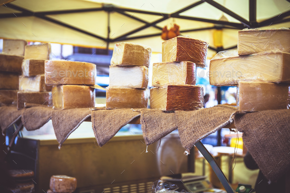 Farmers cheeses in city market - Stock Photo - Images