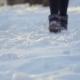 Woman in Winter Boots Walk on Snow - VideoHive Item for Sale
