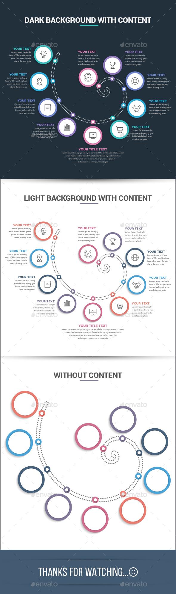Modern Spiral Infographics Template - Infographics