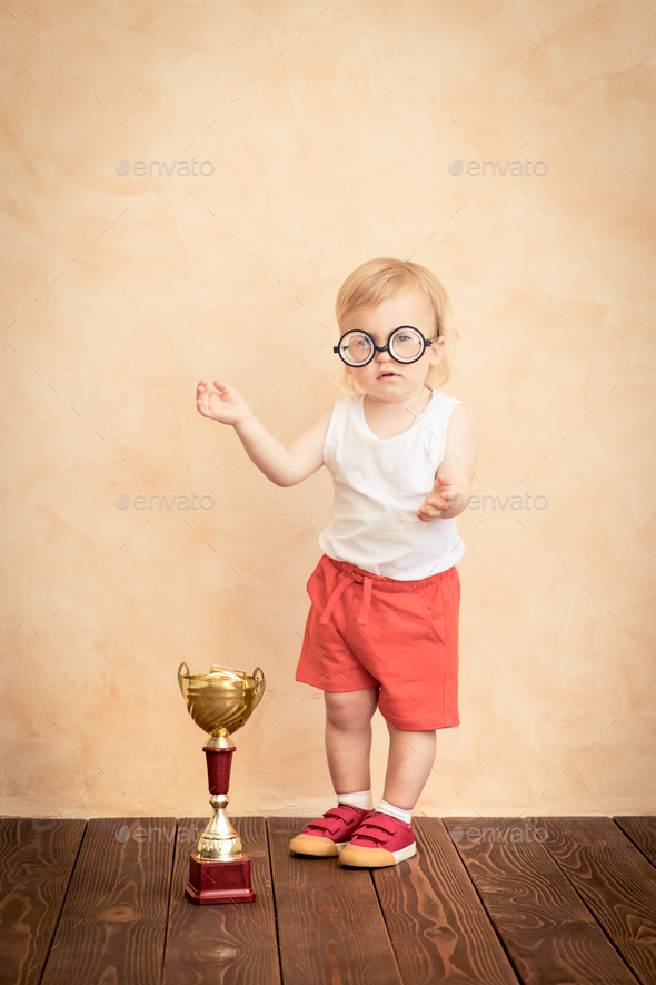 Baby funny sportsman. Success and winner concept - Stock Photo - Images