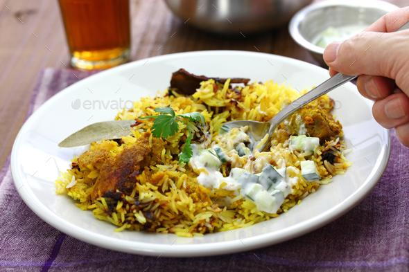hyderabadi chicken biryani, indian cuisine - Stock Photo - Images