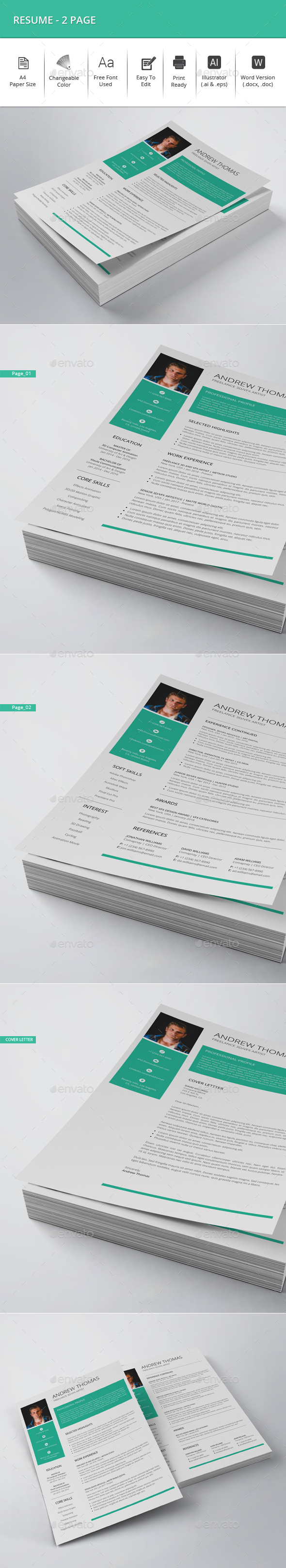 Resume - 2 Page - Resumes Stationery